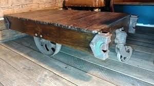 sled coffee table antique factory cart wooden sled coffee table