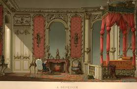 A chromolithograph of an upper class French 18th century bedroom interior  by Paul Lacroix (18th