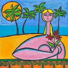 beachside with red flowers painting by paul zepeda available from wet paint nyc eco friendly prints on canvas