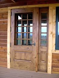 great wooden unfinished half glass front rustic doors as decorate traditional woooden house designs home door