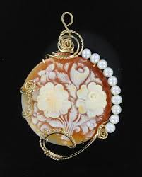 my secret garden very large italian cameo with pearls