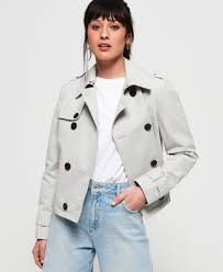 cropped azure trench coat