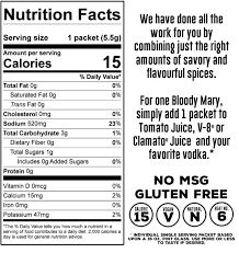 nutrition facts ings