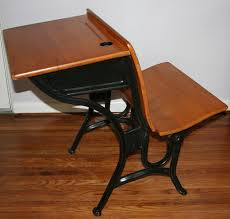 vintage antique children s 1920s wood iron old fashion school desk marked a s co 2