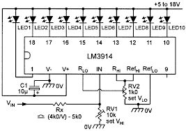 led graph circuits nuts volts magazine by fitting potential divider rx rv1 to the input of the circuit this range can be amplified to say 10 15v or whatever range is desired figure 8