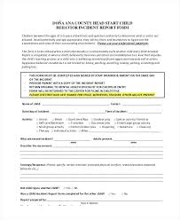Child Care Incident Report Form Template Elim