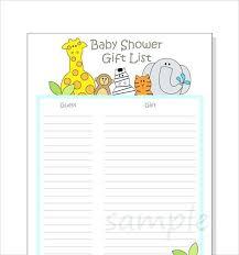 Gift Tracker Baby Shower Gift Tracker Wish List Template Lionelle