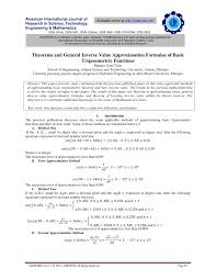 pdf theorems and general inverse value approximation formulae of basic trigonometric functions