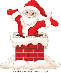 santa claus chimney clipart. Santa Claus Jumping From Chimney Inside Clipart