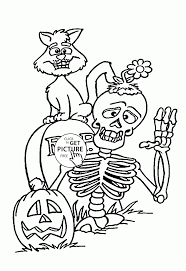 Small Picture Skeleton and Black Cat coloring pages for kids halloween
