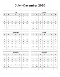 July To December 2020 Calendar Printable Calendar 2020