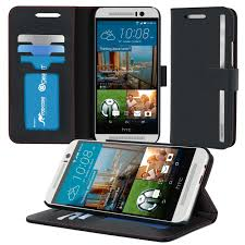 roocase prestige wallet case folio flip cover with stand for htc one m9 2016 black