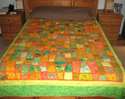 Twin Size Bed Quilt Jungle Animal Prints in Mosaic Crazy & Quilt -- A Mosaic Nine Patch in Spring Greens, Orange and Yellow Adamdwight.com