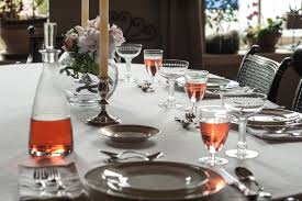 Table Setting In French Peony Season Table Setting With French Rose In French Wine Glasses