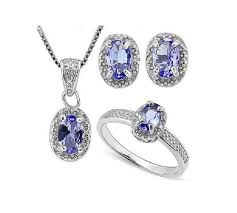 1 3 4 ct tanzanite diamond ring pendant necklace and earring sterling silver set 925 estate jewelry earrings
