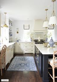 fall kitchen decor in blue white