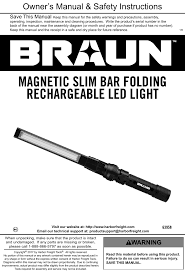 Braun Magnetic Slim Bar Led Work Light Manual For The 63958 390 Lumen Slim Bar Folding Led Worklight
