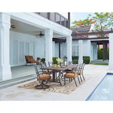 home decorators collection north lake 7 piece aluminum outdoor dining set with sunbrella spectrum sierra