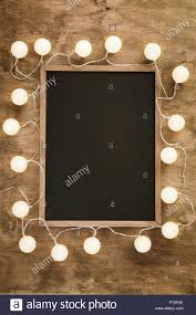 Chalkboard With Lights Empty Black Chalkboard Surrounded With White Decorative