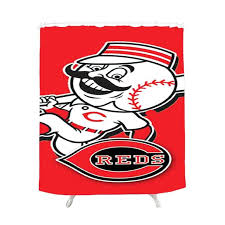 shower curtains cincinnati reds shower curtain reds bedding and fan room accessories bed bath reds