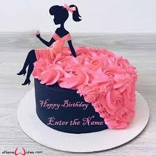 Barbie Dress Birthday Name Cake Enamewishes