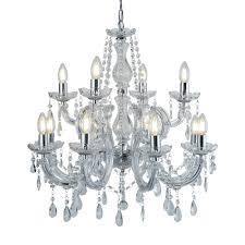 lighting home chandeliers marie therese chrome 12 light chandelier with crystal drops