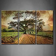 first wall art 3 panel wall art brown grunge illustration of green lavender fields with on lavender fields wall art with amazon first wall art 3 panel wall art brown grunge