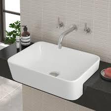 semi recessed basins bathroom sinks victorian plumbing uk salou semi recessed basin 0th 480 x 370mm