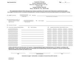 Fillable Online Beer Franchise Form Page Of Comptroller Of Maryland