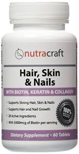 1 hair skin nails supplement with 5000mcg of biotin keratin collagen msm silica hyaluronic acid to promote hair growth stronger nails and glowing