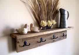 wall hung coat rack shelf hat rack key rack towel rack rustic reclaimed barn wood