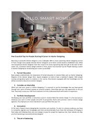 Be Your Own Interior Designer Five Essential Tips For People Starting A Career In Interior