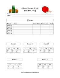 Tournament Sign Up Sheets Printable 6 Team Round Robin Beer Pong