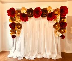 Paper Flower Wall Rental White Drape Red Gold Paper Flowers Wall Rental Balloons Bash