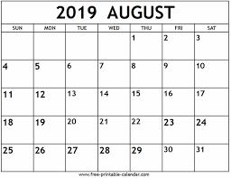 August Calandar August 2019 Calendar Free Printable Calendar Com