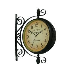 decorative outdoor clock retro metal double sided wall clock style garden vintage wall clock metal mute two sided home decoration in wall clocks from home