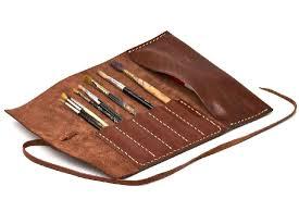 alta andina leather pen pencil roll café pouch roll up case