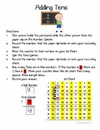 Tens Chart Math Adding Tens Math Center Intro To 2 Digit Addition With A 100 Chart