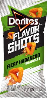 doritos flavor shots fiery habanero triangles artificially flavored corn snacks