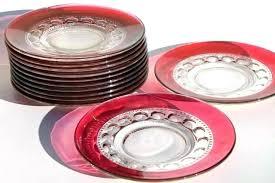 colored glass dinnerware sets plates clear unique transpa vintage