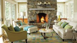 living room with stone fireplace. cottage living room with stone fireplace french doors zillow i