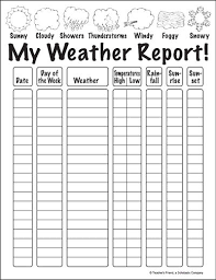 Blank Weather Data Chart My Weather Report Teaching Weather Weather Worksheets
