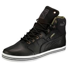 black leather high top pumas