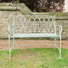 light green on metal bench