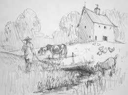 Immagini Da Disegnare Facili Paesaggio Casa Rurale Sfondo Uomo