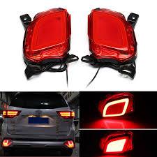 2017 Highlander Fog Light 2pcs Red Led Car Rear Bumper Reflector Brake Lights Fog Lamp For Toyota Highlander 2015