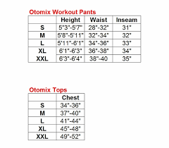 Otomix Workout Pants And Tops Size Charts