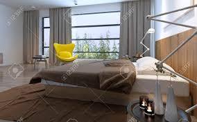 Bett Und Gelben Stuhl Im Schlafzimmer Mit Großem Fenster Tageslicht