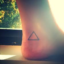 Ankle Tattoo Of A Triangle On Jay