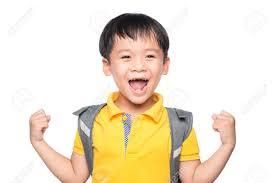 Superhero School Child In Class Happy Asian Kid Against White